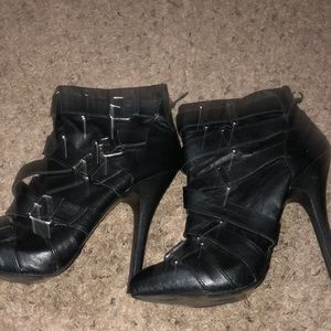 Black leather ankle boots.